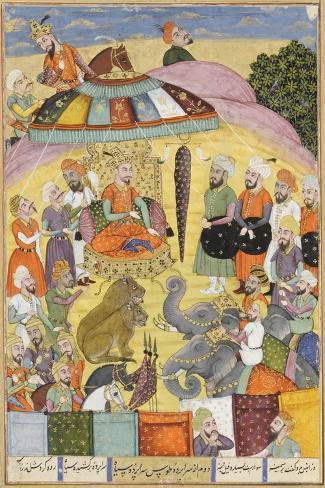 Shahnameh de Ferdowsi ou le Livre des Rois. Sohrab regarde la tente panachés du roi.--Stretched Canvas Print