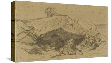 Cinq lions ou lionnes dans les rochers-Rosa Bonheur-Stretched Canvas Print