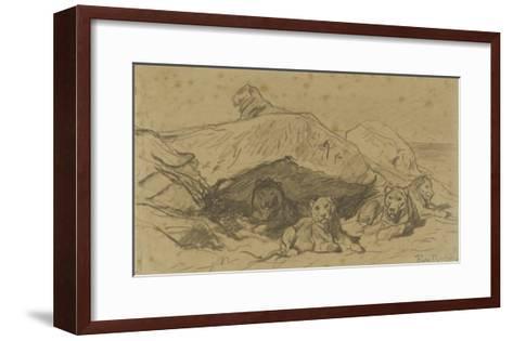 Cinq lions ou lionnes dans les rochers-Rosa Bonheur-Framed Art Print