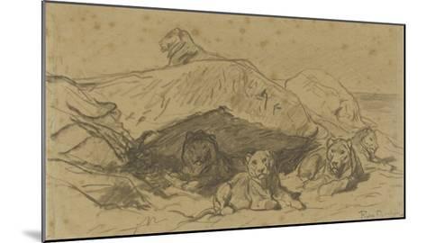 Cinq lions ou lionnes dans les rochers-Rosa Bonheur-Mounted Giclee Print