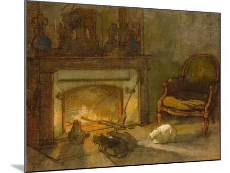 Chats au coin du feu--Mounted Giclee Print
