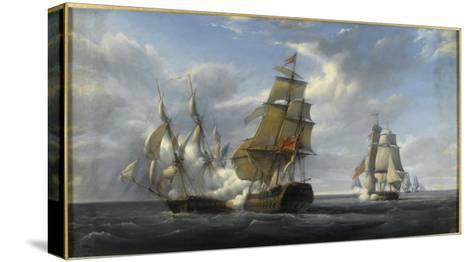 Combat de frégate française Canonnière contre vaisseau anglais Tremendous, 21 avril 1806-Pierre Julien Gilbert-Stretched Canvas Print