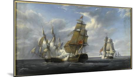 Combat de frégate française Canonnière contre vaisseau anglais Tremendous, 21 avril 1806-Pierre Julien Gilbert-Mounted Giclee Print