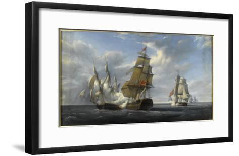Combat de frégate française Canonnière contre vaisseau anglais Tremendous, 21 avril 1806-Pierre Julien Gilbert-Framed Art Print