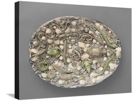 Plat ovaà bord ondulé, couleuvres, tortue, lézards, grenouil, poissons, étrilet coquillages-Bernard Palissy-Stretched Canvas Print