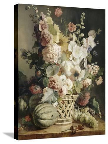 Fleurs et fruits dans une corbeille d'osier-Antoine Berjon-Stretched Canvas Print