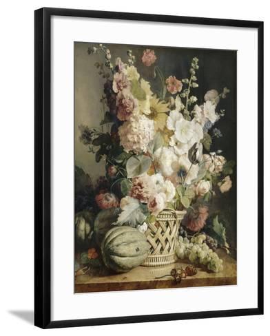 Fleurs et fruits dans une corbeille d'osier-Antoine Berjon-Framed Art Print