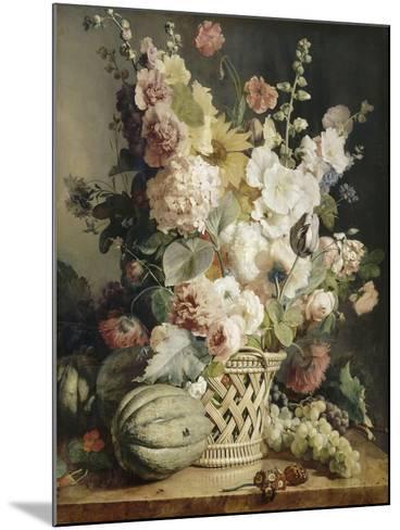 Fleurs et fruits dans une corbeille d'osier-Antoine Berjon-Mounted Giclee Print