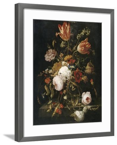 Fleurs dans une carafe de cristal avec une branche de pois et un escargot-Abraham Mignon-Framed Art Print