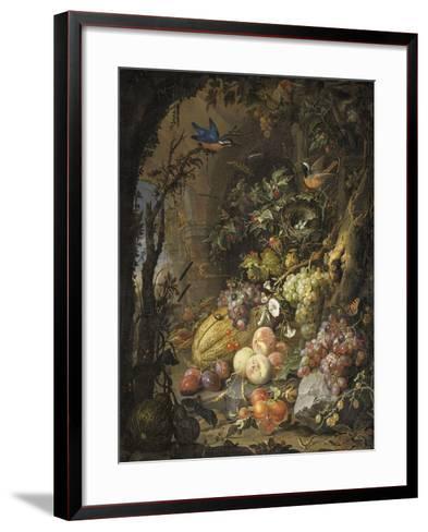 Fleurs, fruits, oiseaux et insectes dans un paysage avec ruines-Abraham Mignon-Framed Art Print
