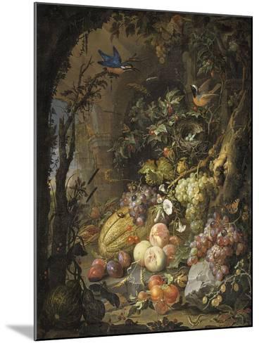 Fleurs, fruits, oiseaux et insectes dans un paysage avec ruines-Abraham Mignon-Mounted Giclee Print