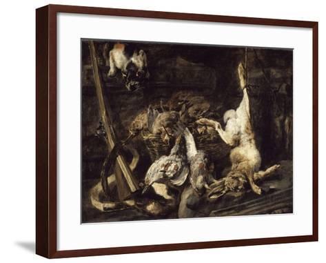 Gibier et attirail de chasse découverts par un chat-Jan Fyt-Framed Art Print