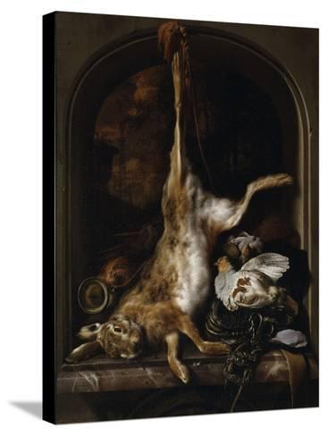 Gibier et ustensiles de chasse disposés sur le rebord d'une fenêtre-Jan Baptist Weenix-Stretched Canvas Print