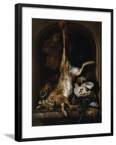 Gibier et ustensiles de chasse disposés sur le rebord d'une fenêtre-Jan Baptist Weenix-Framed Art Print