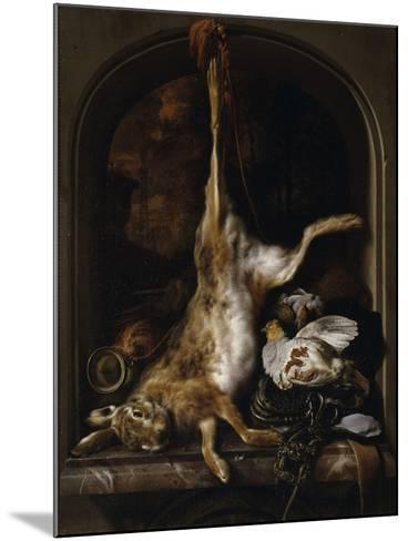 Gibier et ustensiles de chasse disposés sur le rebord d'une fenêtre-Jan Baptist Weenix-Mounted Giclee Print