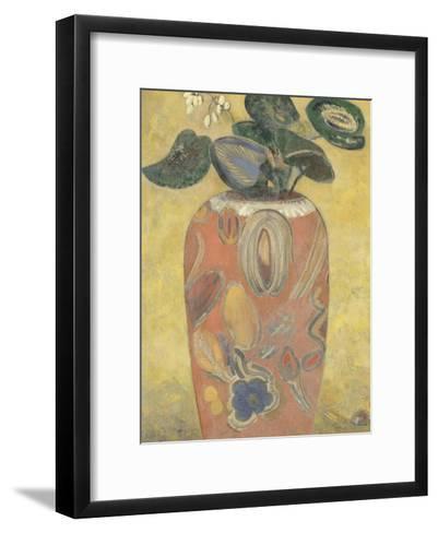 Plante verte dans une urne-Odilon Redon-Framed Art Print