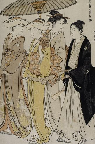 Filles de samouraï accompagnées d'un jeune homme-Torii Kiyonaga-Stretched Canvas Print