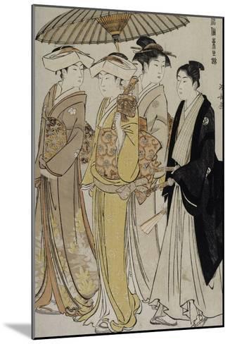 Filles de samouraï accompagnées d'un jeune homme-Torii Kiyonaga-Mounted Giclee Print