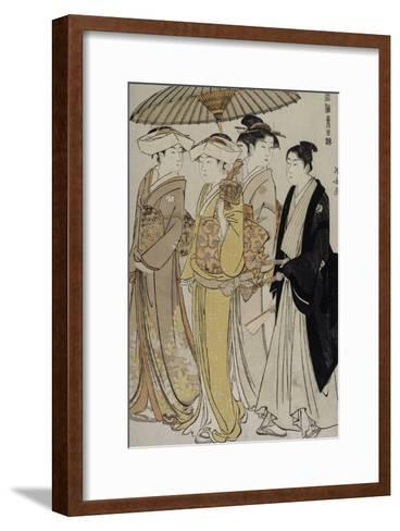 Filles de samouraï accompagnées d'un jeune homme-Torii Kiyonaga-Framed Art Print