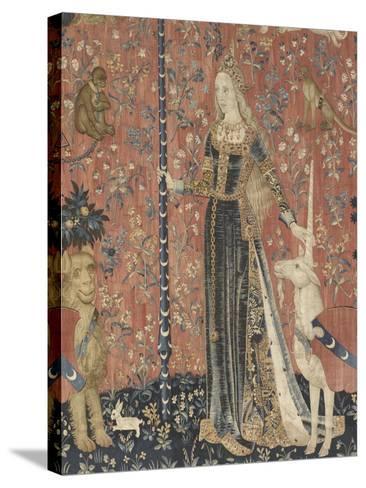 Tenture de la Dame ? la Licorne : le Toucher--Stretched Canvas Print