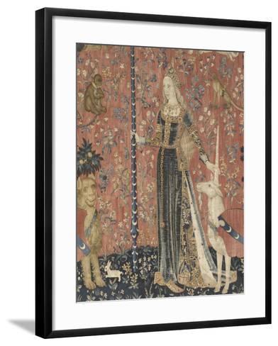 Tenture de la Dame ? la Licorne : le Toucher--Framed Art Print