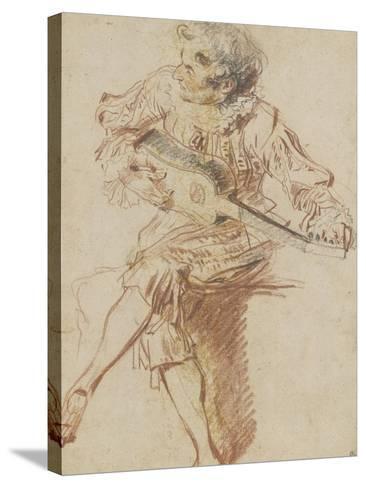 Joueur de guitare assis-Jean Antoine Watteau-Stretched Canvas Print