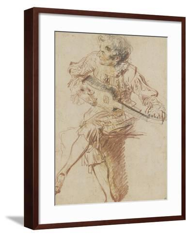 Joueur de guitare assis-Jean Antoine Watteau-Framed Art Print