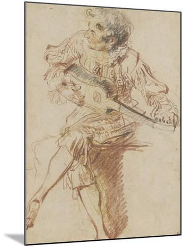 Joueur de guitare assis-Jean Antoine Watteau-Mounted Giclee Print