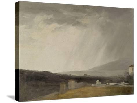 Ciel à la Villa Borghèse : temps de pluie-Pierre Henri de Valenciennes-Stretched Canvas Print