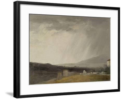 Ciel à la Villa Borghèse : temps de pluie-Pierre Henri de Valenciennes-Framed Art Print