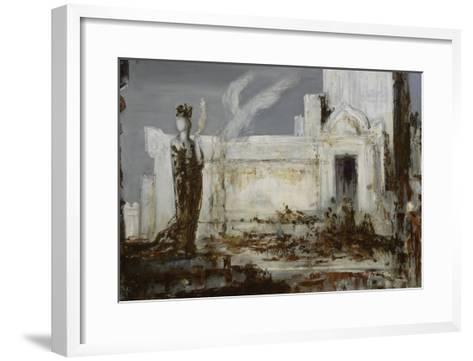 Hélène à la porte Scée-Gustave Moreau-Framed Art Print