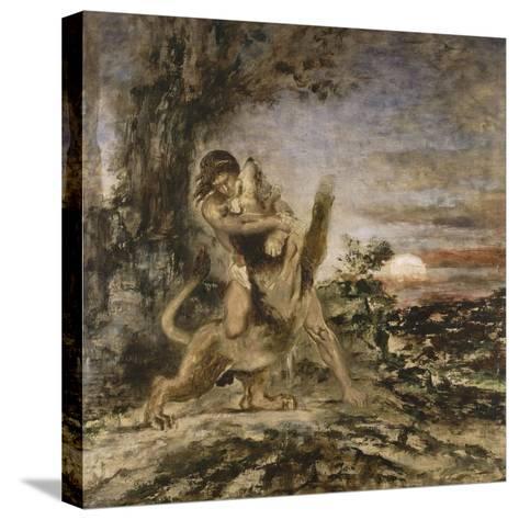 Hercule et le Lion de Némée-Gustave Moreau-Stretched Canvas Print