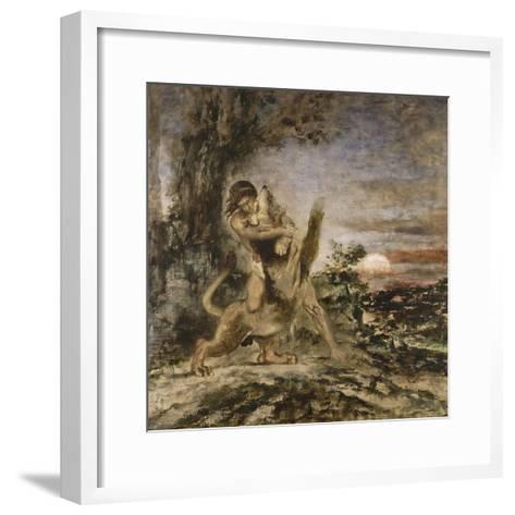 Hercule et le Lion de Némée-Gustave Moreau-Framed Art Print
