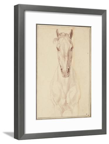 Cheval vu jusqu'aux avant-bras de face-Edme Bouchardon-Framed Art Print