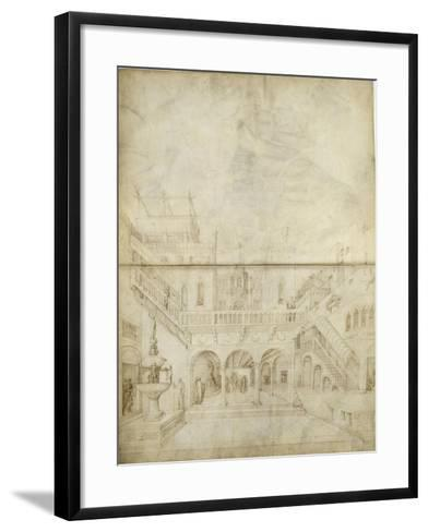 Architecture ; Jugement de Salomon-Jacopo Bellini-Framed Art Print