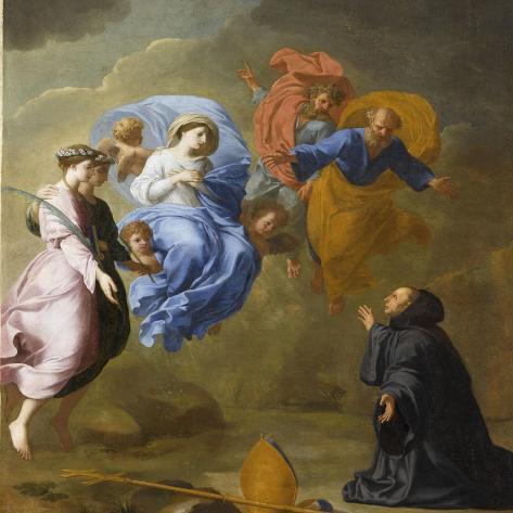 Apparition de la Vierge accompagnée de sainte Agnès et de sainte Thècle à saint Martin-Eustache Le Sueur-Stretched Canvas Print