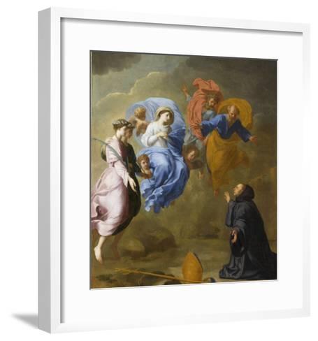 Apparition de la Vierge accompagnée de sainte Agnès et de sainte Thècle à saint Martin-Eustache Le Sueur-Framed Art Print