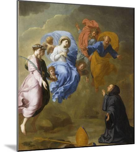 Apparition de la Vierge accompagnée de sainte Agnès et de sainte Thècle à saint Martin-Eustache Le Sueur-Mounted Giclee Print