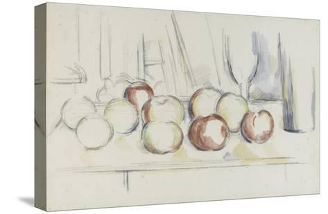 Pommes, verre et bouteille-Paul C?zanne-Stretched Canvas Print