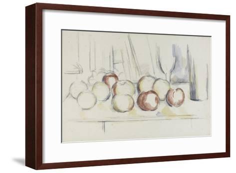 Pommes, verre et bouteille-Paul C?zanne-Framed Art Print