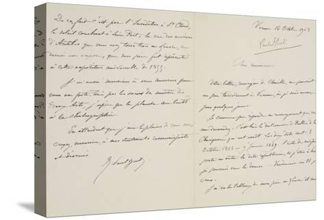 Lettre autographe signée de René-Paul Huet au directeur du musée du Louvre datée du 16 octobre 1908--Stretched Canvas Print