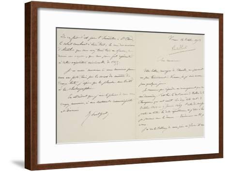 Lettre autographe signée de René-Paul Huet au directeur du musée du Louvre datée du 16 octobre 1908--Framed Art Print