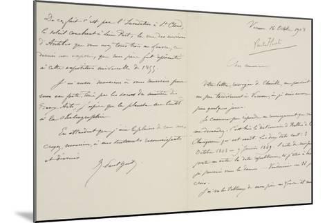 Lettre autographe signée de René-Paul Huet au directeur du musée du Louvre datée du 16 octobre 1908--Mounted Giclee Print