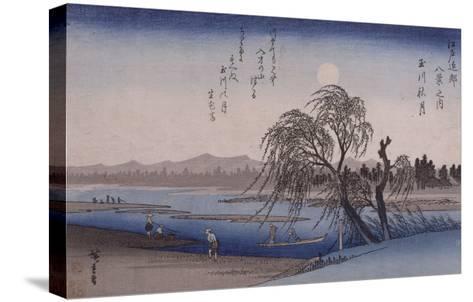 Lune d'automne sur la rivière Tamagawa-Ando Hiroshige-Stretched Canvas Print