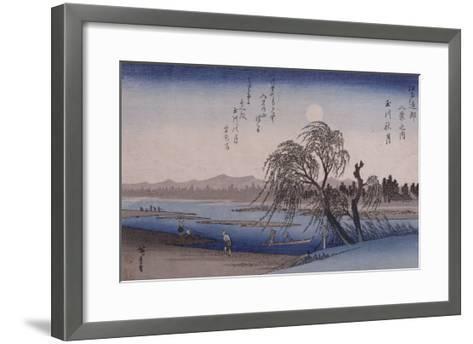 Lune d'automne sur la rivière Tamagawa-Ando Hiroshige-Framed Art Print