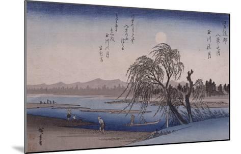 Lune d'automne sur la rivière Tamagawa-Ando Hiroshige-Mounted Giclee Print