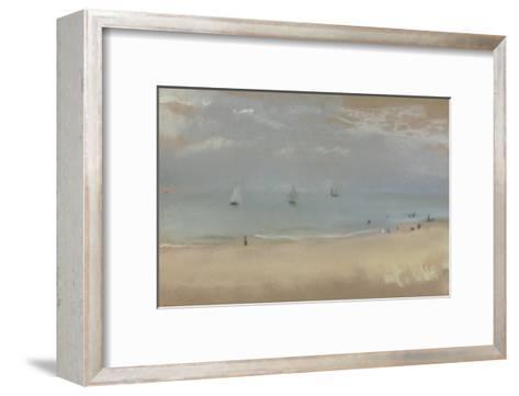 Au bord de la mer, sur une plage, trois voiliers au loin-Edgar Degas-Framed Art Print