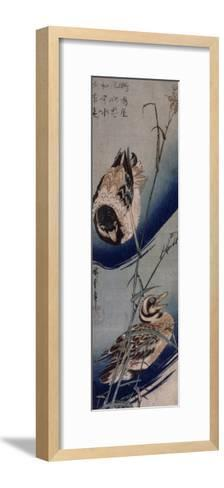 Bambous et Canards Sauvages-Ando Hiroshige-Framed Art Print