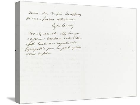 Lettre autographe signée à Berryer, 29 Juillet 1861-Eugene Delacroix-Stretched Canvas Print