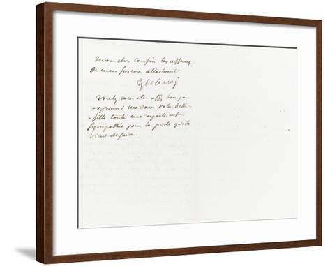 Lettre autographe signée à Berryer, 29 Juillet 1861-Eugene Delacroix-Framed Art Print